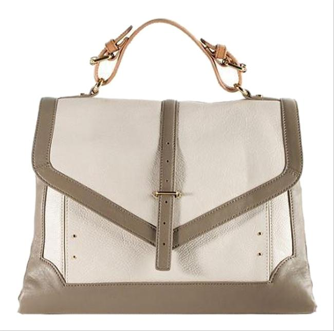Item - Large Off White and Gray Colorblock Calfskin Leather Satchel