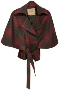 Cartonnier Capelet Plaid Wool Cape