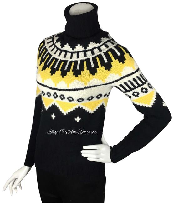 Item - Hand Knit Fair Isle Cashmere Blend Black Yellow Off White Sweater
