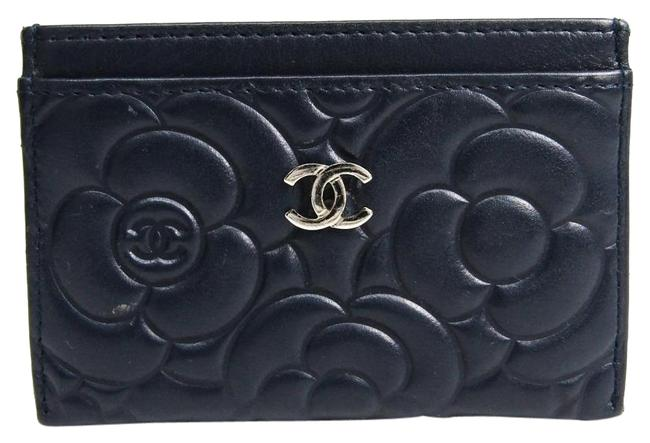 Item - Navy Camellia Leather Card Wallet