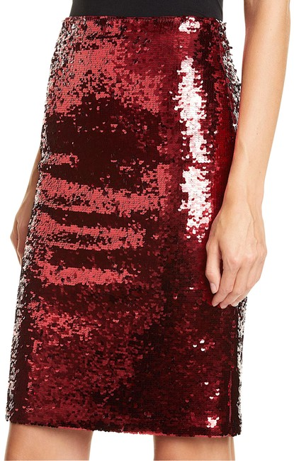 Item - Red Tih Tag Sequin Pencil Skirt Size 4 (S, 27)