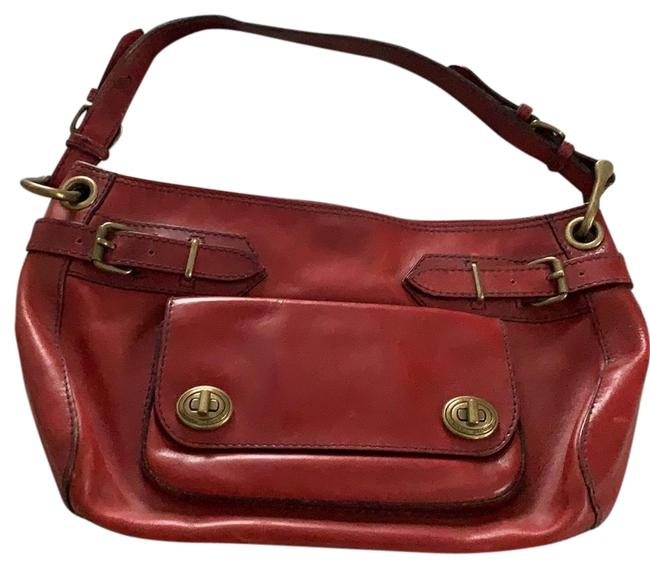 Item - With Strap Maroon Red Leather Baguette
