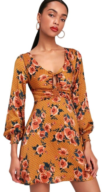 Free People Gold Morning Light Floral Mini Short Casual Dress Size 4 (S) Free People Gold Morning Light Floral Mini Short Casual Dress Size 4 (S) Image 1