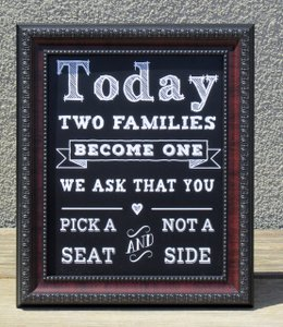 Two Rustic Wedding Signs-today Two Families Become One We Ask That You Pick A Seat And Not A Side & Alcohol Sign For The