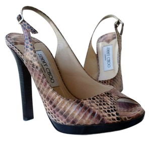Jimmy Choo blush snake skin Sandals