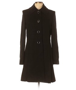Via Spiga Wool Peplum Swing Pleated Pea Coat