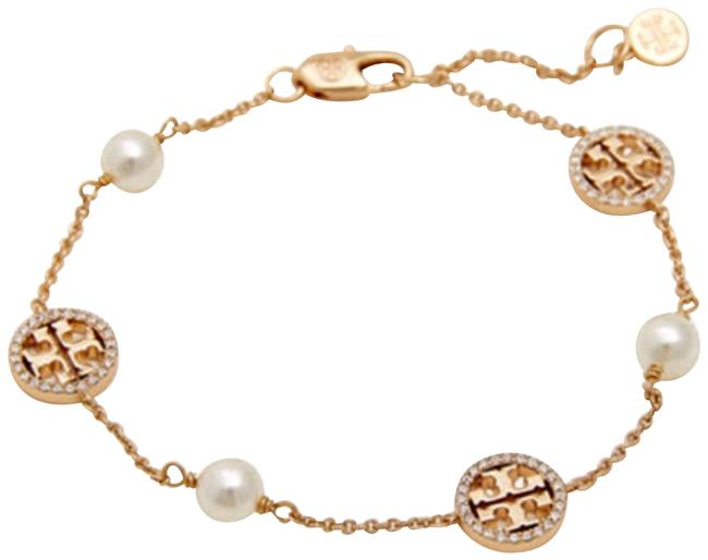 Tory Burch Gold Crystal Logo Pearl Bracelet Tory Burch Gold Crystal Logo Pearl Bracelet Image 1