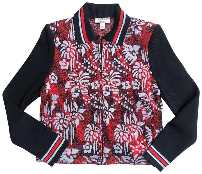 Item - Red Knit Sweater Full Zip Floral Jacket Size 4 (S)