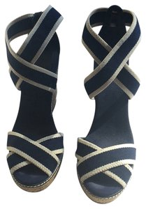 Tory Burch Navy Blue With Thin White Stripe Wedges