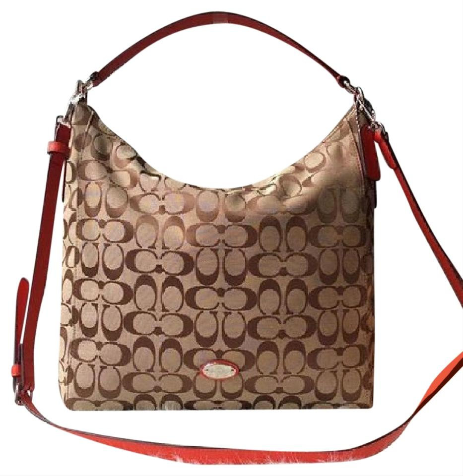 1010713c0e2f3 Coach 12cm Signature Celeste Convertible Khaki Brown  Red Fabric Hobo Bag