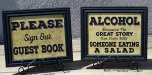 Three Great Rustic Wedding Signs-burlap Look-framed In Black Frames
