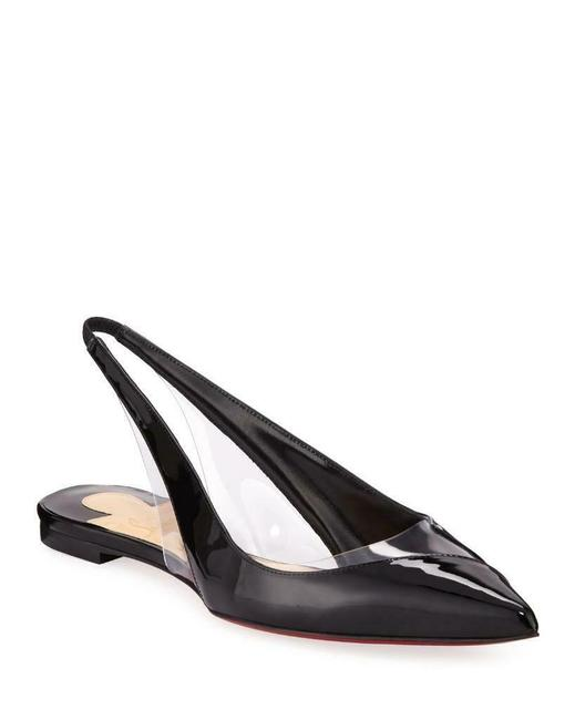 Christian Louboutin Black V Dec Pvc Patent Leather Slingback Flat Sandals Size EU 37.5 (Approx. US 7.5) Regular (M, B) Christian Louboutin Black V Dec Pvc Patent Leather Slingback Flat Sandals Size EU 37.5 (Approx. US 7.5) Regular (M, B) Image 1