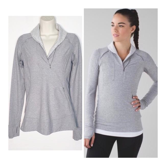 Item - Gray & White Think Fast Activewear Top Size 4 (S)