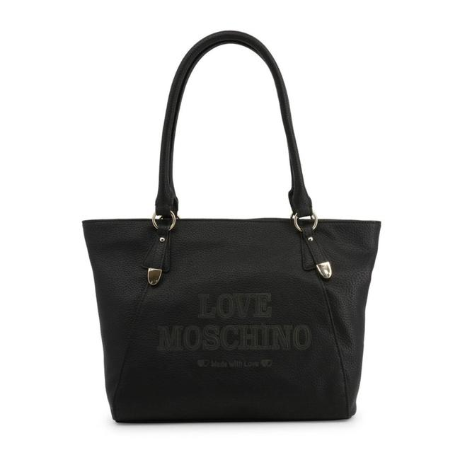Love Moschino Shopping Bag Black Faux Leather Tote Love Moschino Shopping Bag Black Faux Leather Tote Image 1