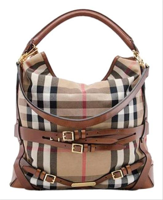 Burberry Bridle House Check Gosford Large Brown Leather Canvas Hobo Bag Burberry Bridle House Check Gosford Large Brown Leather Canvas Hobo Bag Image 1