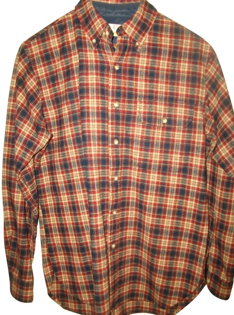Item - Red and Blue Plaid Lobo Men's Wool Shirt S Button-down Top Size 10 (M)