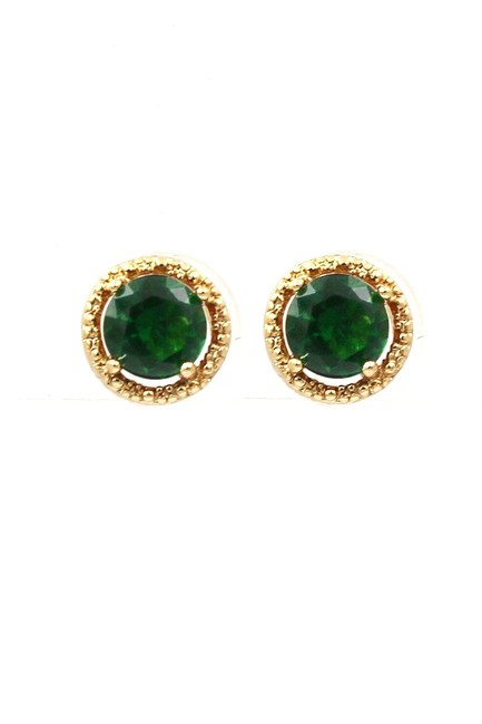 Ocean Fashion Green Golden Four-claw Crystal Earrings Ocean Fashion Green Golden Four-claw Crystal Earrings Image 1