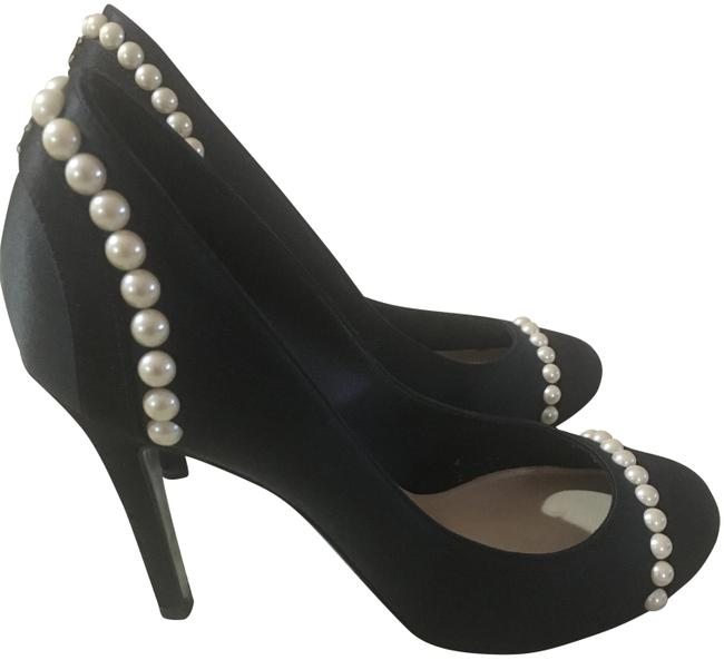 Chanel Black Two-tone Satin with Pearl Trim By Pumps Size EU 38.5 (Approx. US 8.5) Regular (M, B) Chanel Black Two-tone Satin with Pearl Trim By Pumps Size EU 38.5 (Approx. US 8.5) Regular (M, B) Image 1