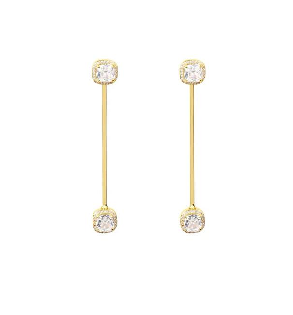 Item - Gold Luxe Crystal Pave Asscher Earrings