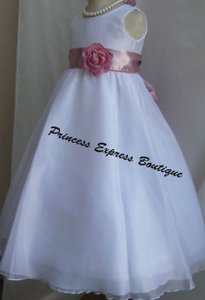 White Dusty Rose - Wedding Flower Girl Dress