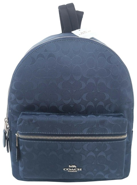Coach Charlie Nylon Blue Signature Nylon-leather Backpack Coach Charlie Nylon Blue Signature Nylon-leather Backpack Image 1