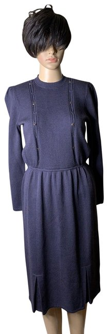 Item - Purple By Marie Gray Knit Sweater Mid-length Formal Dress Size 4 (S)