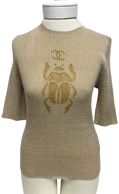 Item - Rib Short Sleeve with Beetle and Cc Logo Gold Sweater