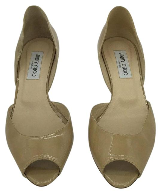 Item - Tan Beige Patent Peep Toe D'orsay Kitten Heels Pumps Size EU 40.5 (Approx. US 10.5) Regular (M, B)
