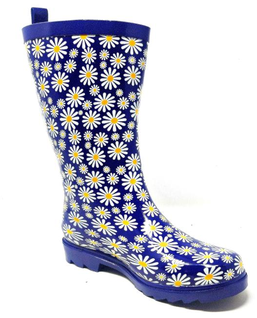 Forever Young Blue Flowers Women's Rubber Waterproof Mid-calf Rb-3151 Rain Boots/Booties Size US 7 Regular (M, B) Forever Young Blue Flowers Women's Rubber Waterproof Mid-calf Rb-3151 Rain Boots/Booties Size US 7 Regular (M, B) Image 1