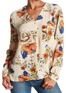 Vertigo Bold Flower Colorful Floral Button Down Happy Floral Cheerful Print Top Multicolor