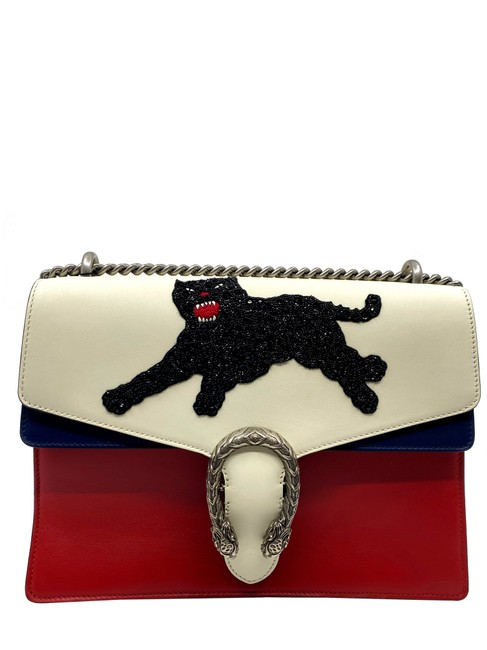 Item - Chain Dionysus Black Sequin Panther Medium Red Ivory Navy Leather Shoulder Bag