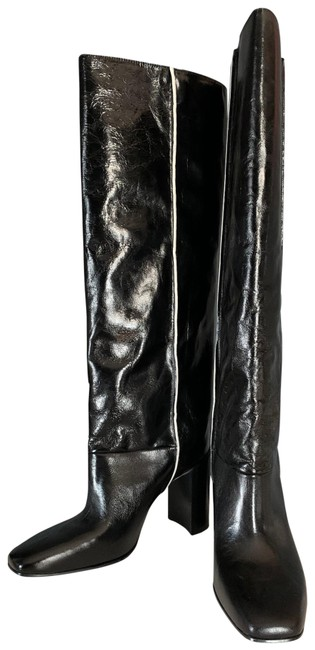 Item - Black with White Contrast Crinkle Leather Knee High Boots/Booties Size EU 37 (Approx. US 7) Regular (M, B)