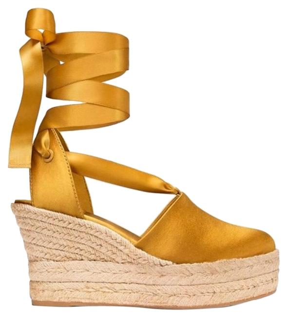 Item - Golden Yellow Sandals Wedges Size US 9.5 Regular (M, B)