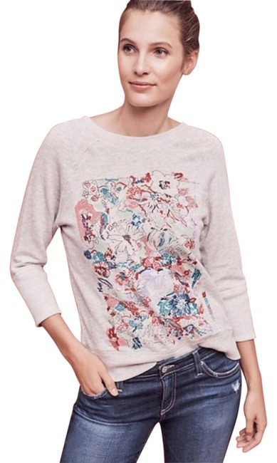 Item - Grey Multi Postmark Paint By Numbers Embroidered Sweater Floral Sweatshirt/Hoodie Size 2 (XS)