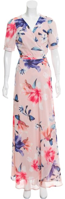 Item - Pink Floral Wrap Front Long Casual Maxi Dress Size 4 (S)