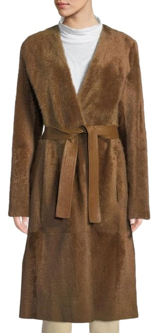 Item - Brown/Camel Reversible Belted Shearling Leather Coat Size 12 (L)