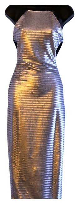 Item - Silver Metallic Midi Mid-length Night Out Dress Size 16 (XL, Plus 0x)