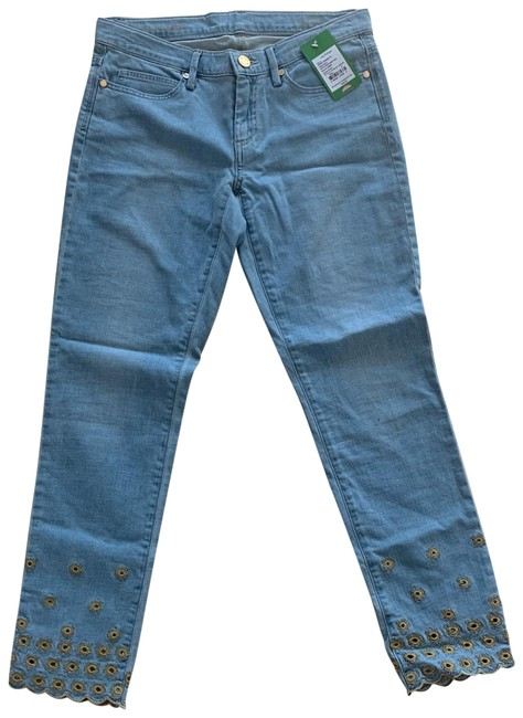Item - Blue and Gold Light Wash South Crop Embroidered Skinny Jeans Size 6 (S, 28)