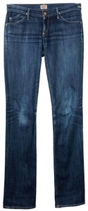Goldsign Premium Denim Low Rise Dark Wash Straight Leg Jeans-Medium Wash