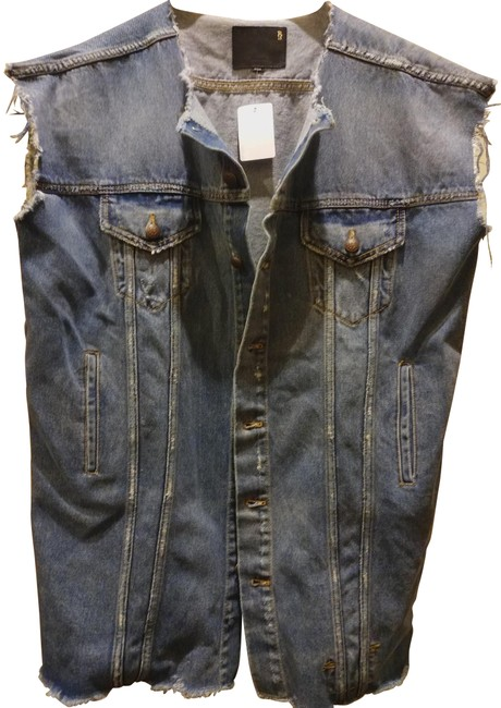 Item - Blue S Oversized Cut Off Arms Distressed Trucker Jacket Size 14 (L)