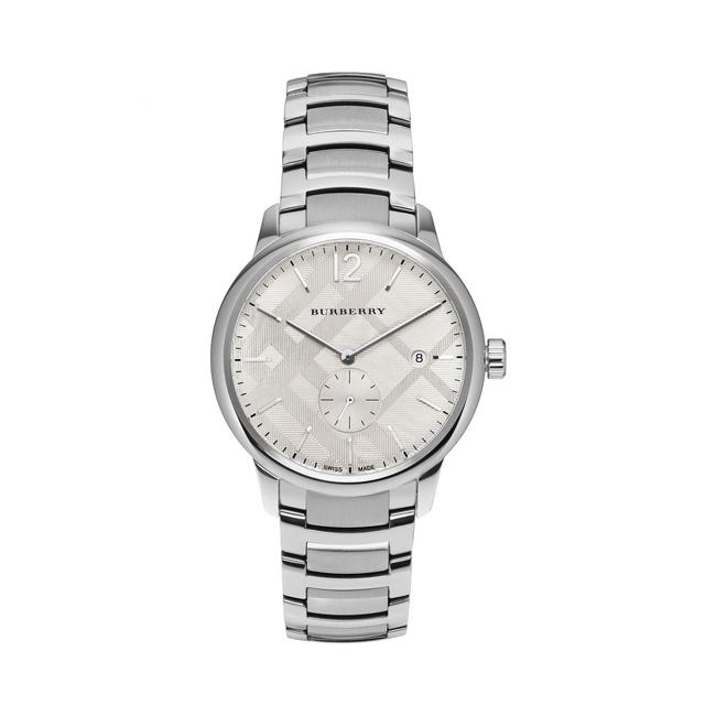 Item - Silver Classic Mens Round Stainless Steel Plaid Bu10004 Watch