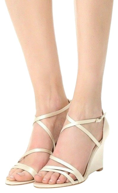 Item - Ivory Bonanza Satin Evening Wedge High Heels Sandals Formal Shoes Size US 7.5 Regular (M, B)