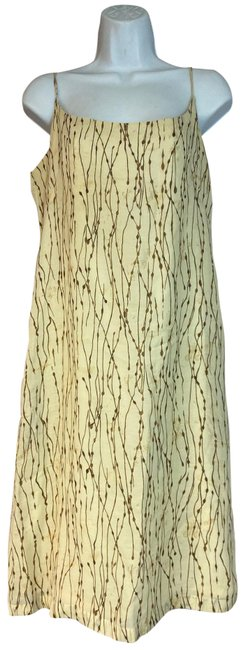 Item - Beige Made In Italy Printed Viscose Linen Shift Short Casual Dress Size 12 (L)