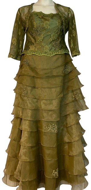 Item - Olive Green Lace Poly Long Formal Dress Size 14 (L)