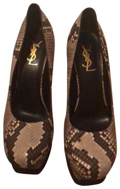 Item - Beige Taupe Brown Tribute Ysl Yves 105 Snakeskin Pumps Platforms Size EU 38.5 (Approx. US 8.5) Regular (M, B)