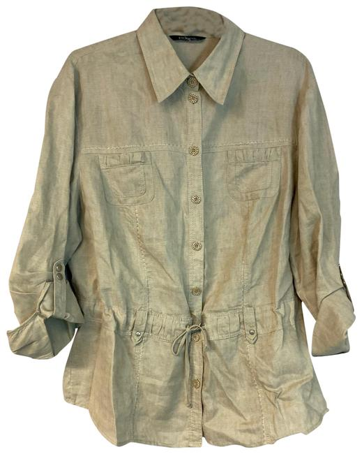 Item - Khaki Drawstring Waist Linen Blouse Size 16 (XL, Plus 0x)