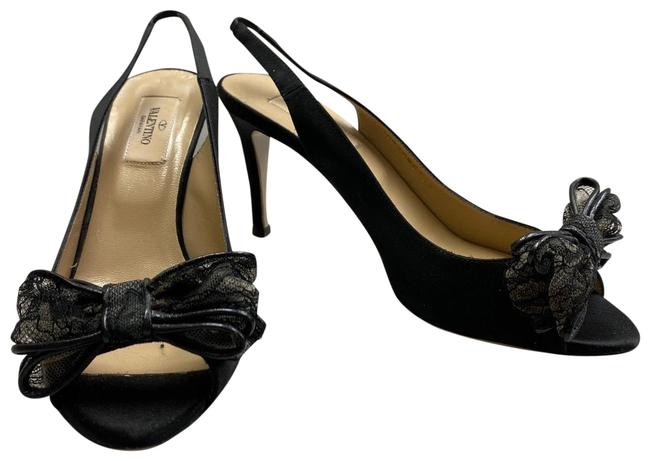 Item - Black Bow Satin Evening Heels Platforms Size EU 38 (Approx. US 8) Regular (M, B)