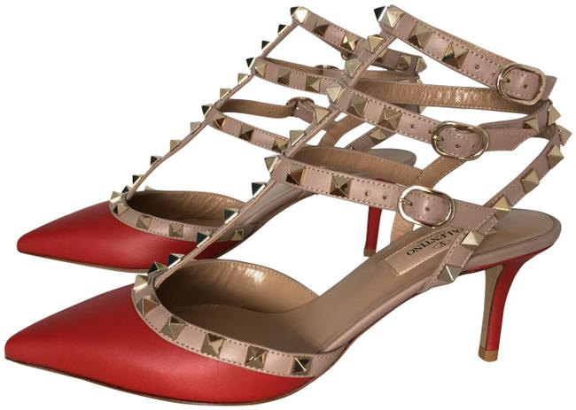 Item - Red Classic Rockstud 85mm Rosso Leather Kitten Heel Slingback Caged Pumps Size EU 37 (Approx. US 7) Regular (M, B)