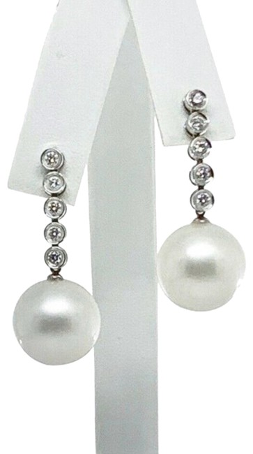 Unbranded White Diamond South Sea Pearl 14k Gold 14.5 Mm Certified 913499 Earrings Unbranded White Diamond South Sea Pearl 14k Gold 14.5 Mm Certified 913499 Earrings Image 1