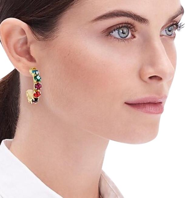 Item - Multi Color Crystal Thick Hoop Earrings